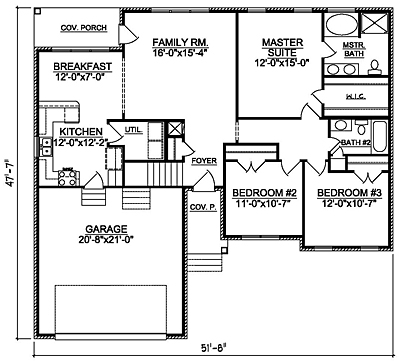 Small Traditional 14-01 One Story Floor Plan
