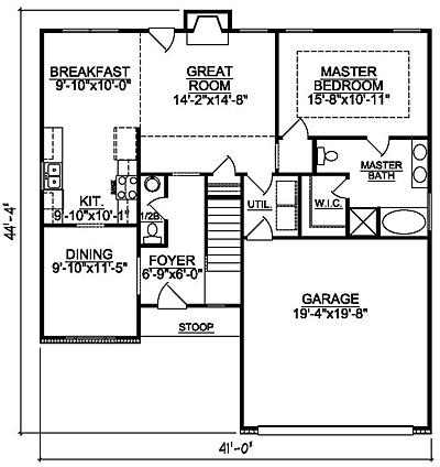 Small Traditional 15-01 First Floor Plan