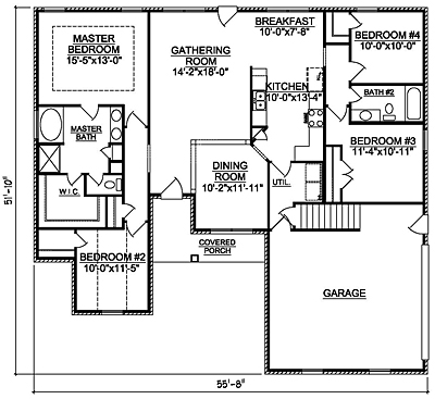 Small Traditional 18-01 One Story Floor Plan