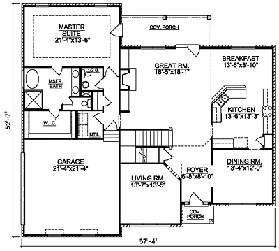 Two Story House Plan 28-01 First Floor Plan