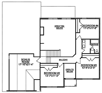 Traditional Home Plan 28-01 Second Floor Plan
