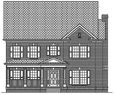 Narrow Lot Colonial Style House Plan 35-03A