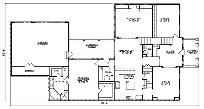 Narrow House Plan 41-03A First Floor Plan