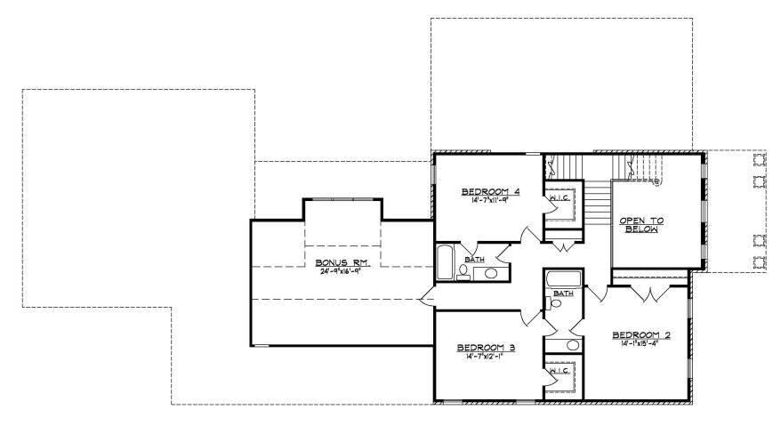 Narrow Home Plan 41-03B Second Floor Plan