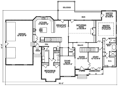 French Country House Plan 53-01 First Floor Plan
