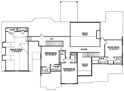 French Country Home Plan 53-01 Second Floor Plan