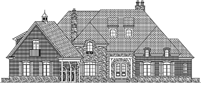 Two Story French Country Style Home Plan with Basement 57-01
