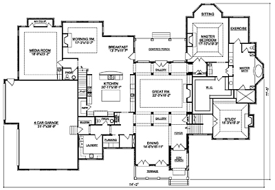 French CountryHouse Plan 67-01 First Floor Plan