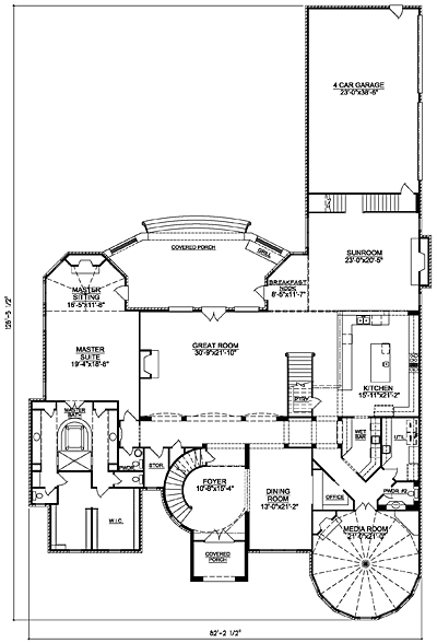 LuxuryHouse Plan 94-01 First Floor Plan